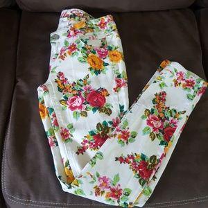 Bright floral on white skinny leg stretch denim